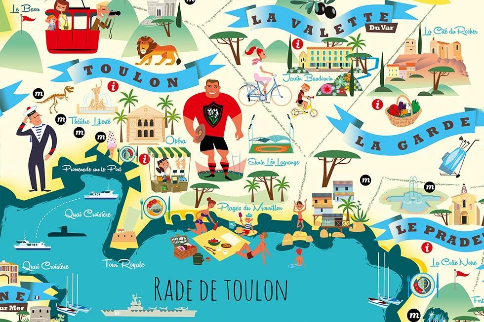 Toulon et son agglom ration illustr s par monsieur z un plan original ludique et gratuit - La garde var office du tourisme ...