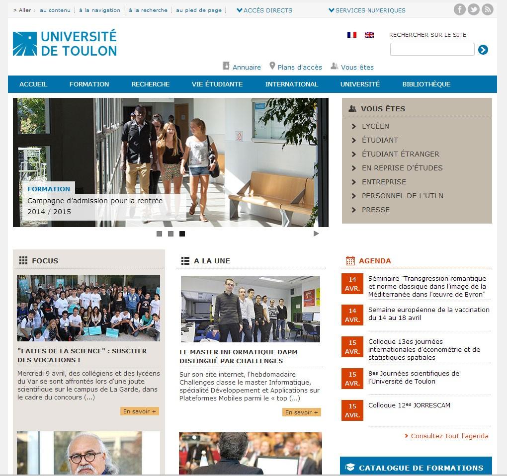 l 39 universit de toulon lance son nouveau site internet. Black Bedroom Furniture Sets. Home Design Ideas