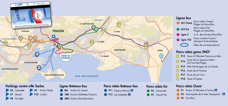 Parkings et navette bus America's Cup Toulon septembre 2016